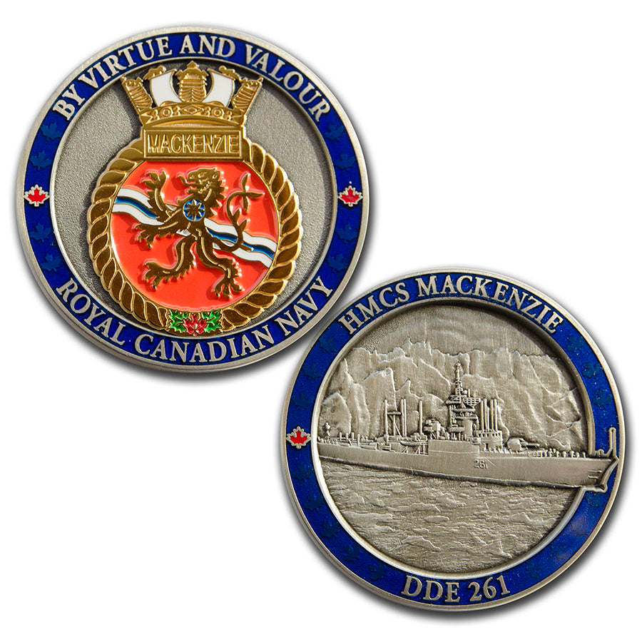 Both sides of HMCS Mackenzie pictured, one is two tone antique silver and polished gold with the ships crest in polished gold and a blue border.  The other is a 3D picture of the ship in antique silver with the same blue border.