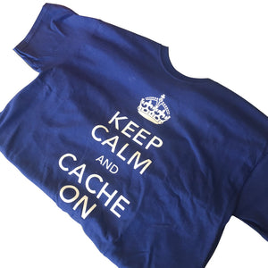 Navy blue Keep Calm and Cache On T-Shirt