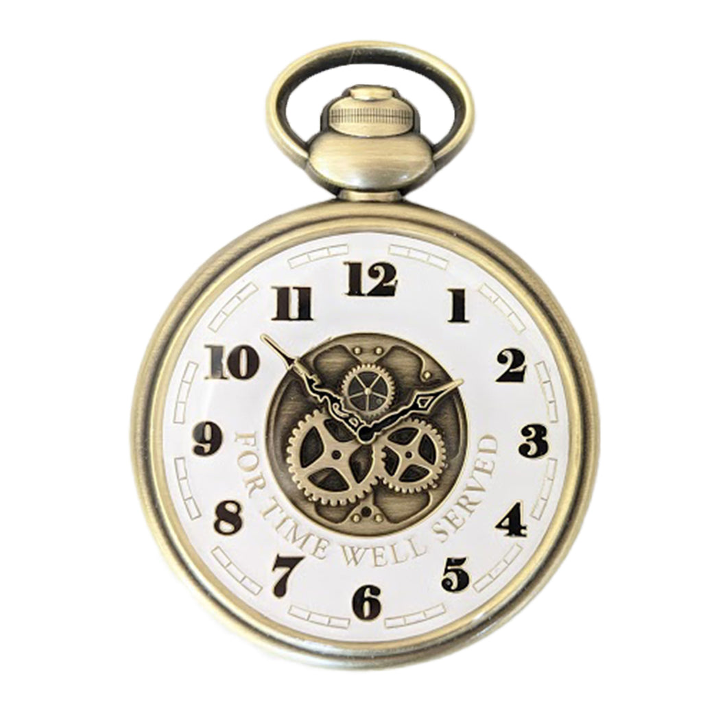 The front of the Retirement Pocket Watch Coin, displaying the gears under the watch hands, surrounded by the numbers on a clock face.  The face is white and the gears are antique bronze