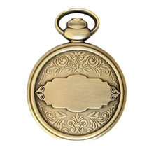 The back of the Retirement Pocket Watch Coin with a large space for up to 3 lines of text.  The coin is antique bronze