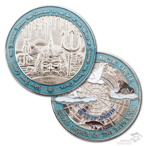 Both sides of the Royal Order of the Bluenose coin are pictured.  One has King Neptune pictured, poking his face out of the water, holding his trident.  There are three polar bears behind him and icicles above, as well as an area for engraving.  The other features pictures of a polar bear walking on an ice flow, a walrus, a beluga whale and a narwhale.  Both sides are surrounded by an ice blue border.