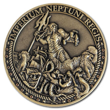 3D Antique Bronze Trusty Shellback coin with King Neptune, mermaids, an octopus and a ship.
