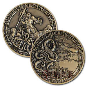 Antique Bronze trusty shellback crossing the line 3D coin depicting underwater scenes of a sea turtle, a ship, an octopus and King Neptune with his trident.
