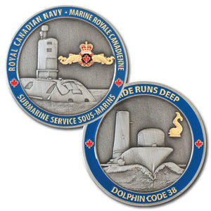 The front and back of the Royal Canadian Navy Submarine coin, with a picture of a 3D submarine on the front and back in antique silver with a blue border