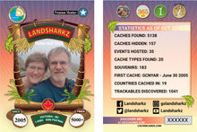 Tropical themed geocaching card
