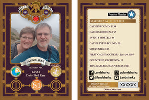 Steampunk themed geocacher card