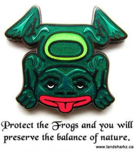 Green native art frog sticking out its tongue pin