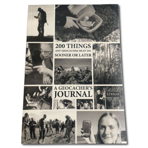 book cover showing photos of people geocaching and geocache containers