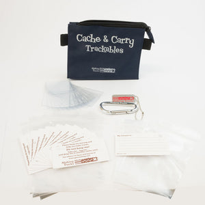 Blue cache and carry trackables bag showing the contents. 10 pvc pouches for geocoins, making tracks trackable tag, 10 mission cards, 10 zipper bags and one large silver carabiner.