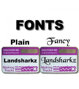 Two different fonts you can choose from, plain and fancy, displayed on purple tags