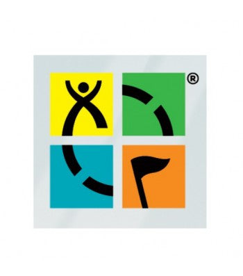 Square geocaching logo window cling in four quadrants, yellow, green, blue and orange.