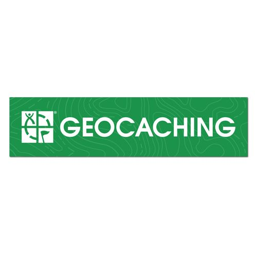 Green Geocaching bumpersticker with the Geocaching.com logo at the front in white