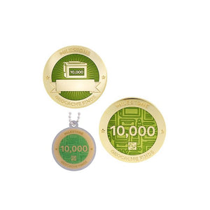 Milestone geocoin in gold with light green paint for your 10000th find.  Front and back pictured, as well as the matching tag.