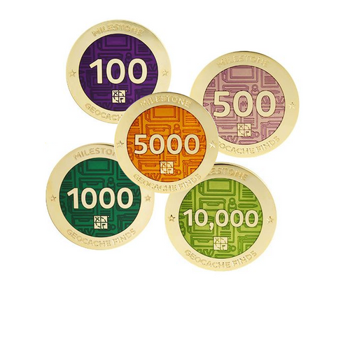 Images of 5 milestone geocoins for 100, 500, 1000, 5000 and 10000 in multiple colours