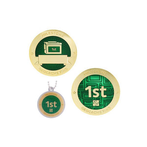 Milestone geocoin in gold with green paint for your 1st find.  Front and back pictured, as well as the matching tag.