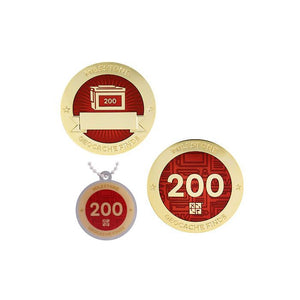 Milestone geocoin in gold with red paint for your 200th find.  Front and back pictured, as well as the matching tag.
