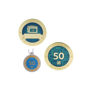 Milestone geocoin in gold with blue paint for your 50th find.  Front and back pictured, as well as the matching tag.