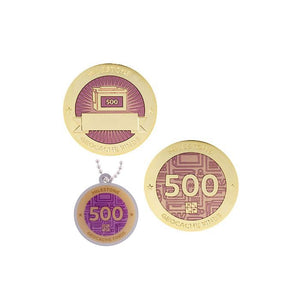Milestone geocoin in gold with pink paint for your 500th find.  Front and back pictured, as well as the matching tag.