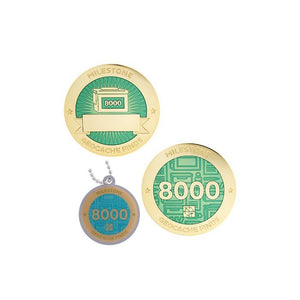 Milestone geocoin in gold with turquoise paint for your 8000th find.  Front and back pictured, as well as the matching tag.