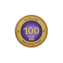 Gold patch with a purple background for 100 finds