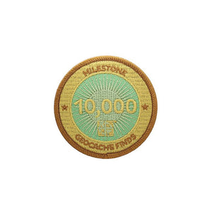 Gold patch with a light green background for 10000 finds