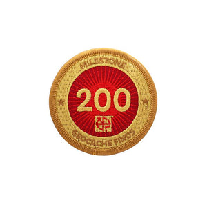 Gold patch with a red background for 200 finds