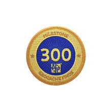 Gold patch with a dark blue background for 300 finds