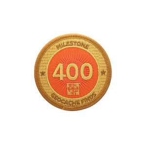 Gold patch with an orange background for 400 finds