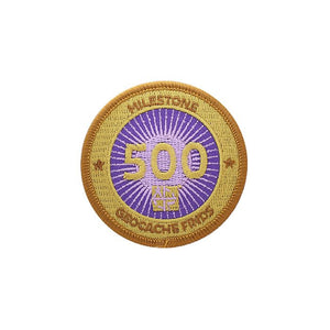 Gold patch with a purple background for 500 finds