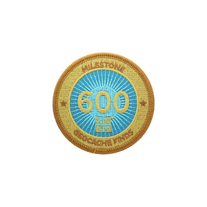 Gold patch with a light blue background for 600 finds