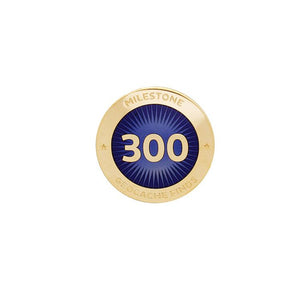 Gold pin for 300 finds in dark blue