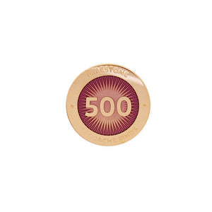 Gold pin for 500 finds in pink