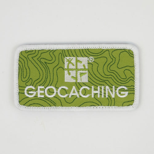 Green rectangle patch with a white border.  It has the geocaching.com logo and says Geocaching under it.