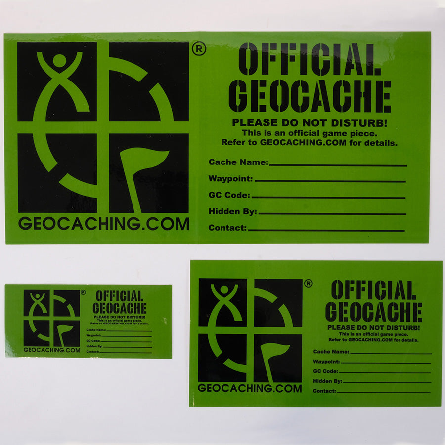 3 different sizes of the Official Geocache sticker in green and black, with space to write your cache name, GC code and other important information.