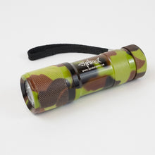 Camouflage print flashlight with the Sharkz logo with the light off