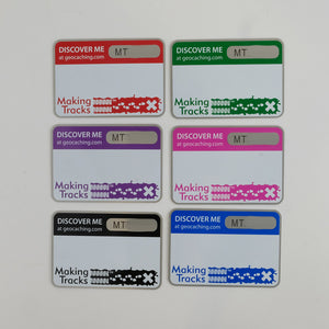 6 Making Tracks Trackable tags in Red, Green, Purple, Pink, Black and Blue
