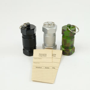 Black, silver and camo mighty mini aluminum geocaches and logsheets