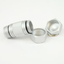 Silver mighty-mini aluminum cache completely open