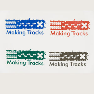4 Making Tracks temporary tattoos in blue, red, green and grey