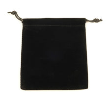 Single black velvet draw string bag