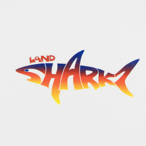 Landsharkz logo temporary tattoo using a rainbow effect for the colouring.