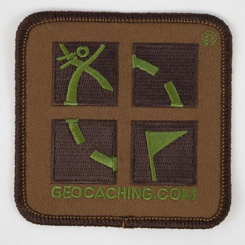 official geocaching logo with two brown colours and one green colour of embroidery.