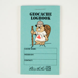 Turquoise Geocache logbook with a cartoon beaver in the front.