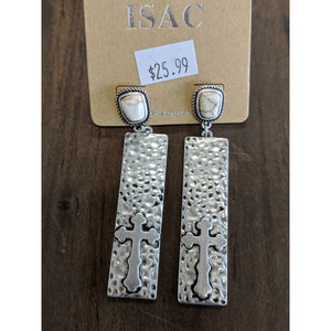 White Turquoise Cross Post Earrings - Urban Outlaw Boutique