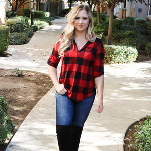 Touch Of Plaid Top - Urban Outlaw Boutique
