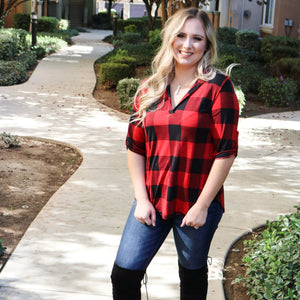Touch of Plaid Top (Curvy) - Urban Outlaw Boutique