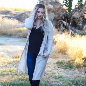 Hooked On You Cardigan (Oatmeal) - Urban Outlaw Boutique