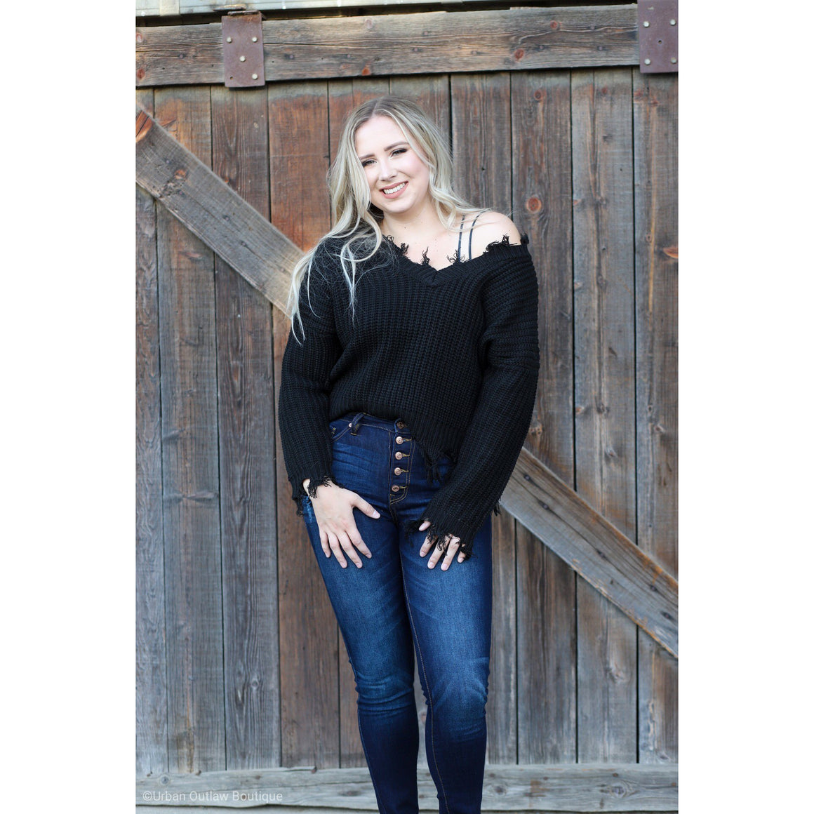 Sweater - My Distressed Heart Sweater (Black)