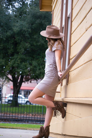 Not you average t-shirt dress (Taupe) - Urban Outlaw Boutique