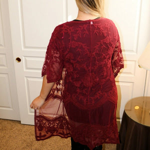 Winter's Lace Vest (Wine) - Urban Outlaw Boutique